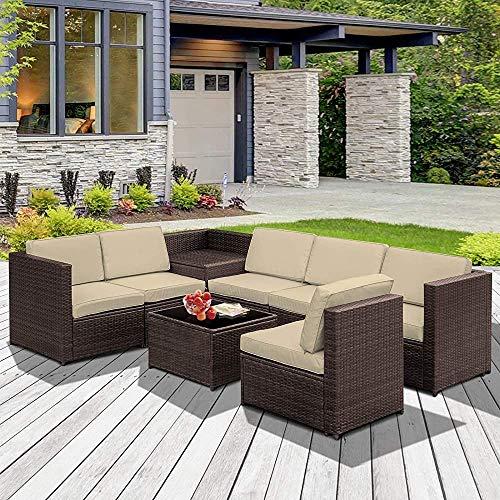 Jardín Muebles de terraza cubiertas del amortiguador del sofá y mesa de 6 plazas de asiento de la esquina de mimbre marrón,Brown
