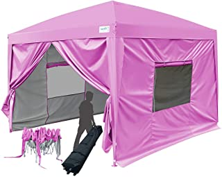 Quictent Privacy 8x8 EZ Pop Up Canopy Tent Folding Party Tent Gazebo with Sidewalls and Mesh Window Waterproof (Pink)