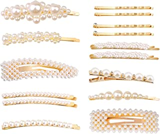 Gold Fashion Styles Pearls Hair Clips for Women Girls - 15 pcs Large Clips/Clips for for Women and Girls Birthday Wedding Party Supplies/Gifts for Valentines Day
