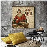 Mejor no el abadejo de Santa Christmas Decor Poster lienzo pinturas de arte pared de la lona imprime imágenes Sala Infantil Inicio Interior / 40x40cm-No Frame
