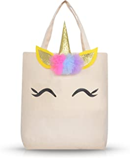 Unicorn Tote Bag for Girls Kids Daughter Large Cotton Canvas Tote Bag for School Shopping Unicorn Christmas Gifts for Girls