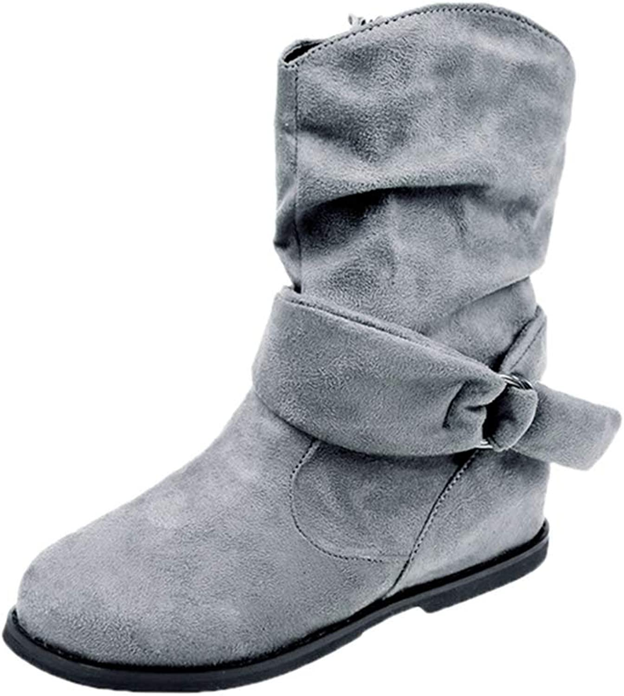 Hoxekle Mid Calf Boots Women Black Flock Round Toe Flat Heels Vintage Style Women Flat Booties Boots Short Boots