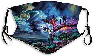 Vindtätt aktivt kolskydd, natthimmel, öken gammalt träd handmålad som bild kosmos nebulosa yttre rymden ansiktsdekoratione...