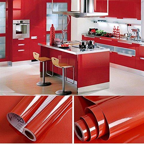 SOLDGOOD - Rollo de papel pintado autoadhesivo de PVC, 5,5 x 0,61 m, rojo