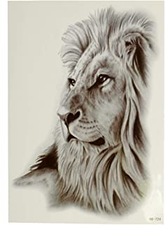 1 x liggende leeuw - Lion - gezicht - zwarte XL eenmaal huid tattoo - HB724 (1)