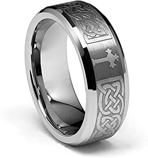 Laser Engraving Service 8MM Comfort Fit Wedding Band Ring with Laser Etched Tribal Celtic Infinity Braid Pattern, Diamond Beveled Edges and Gothic Cross