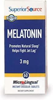 Superior Source Melatonin 3 mg, Under The Tongue Quick Dissolve Sublingual Tablets, 60 Count, with Chamomile, Non-Addictiv...
