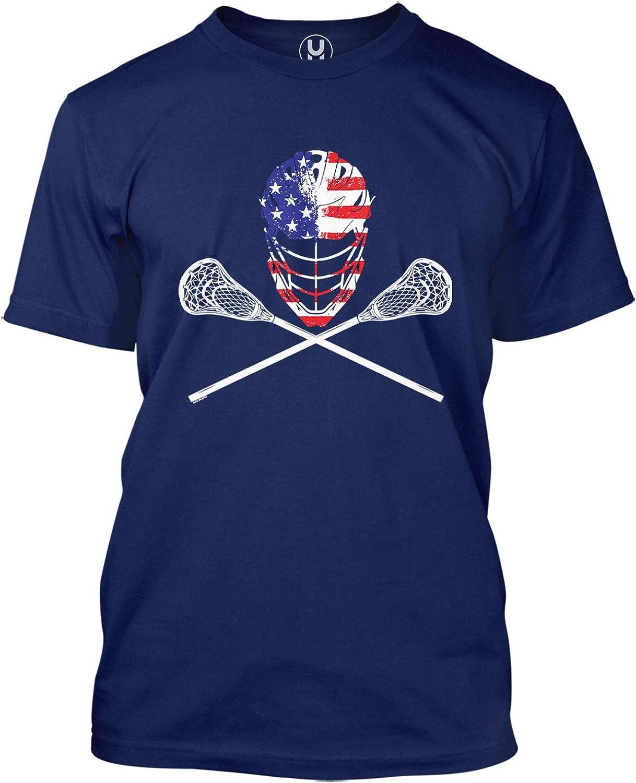 USA Crossed Virginia Beach Mall Lacrosse Sticks Helmet Bro - Lax T-Shirt Men's Direct sale of manufacturer