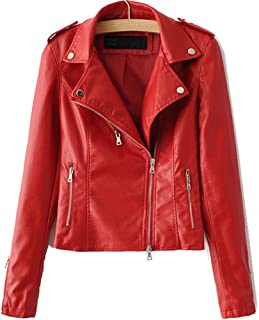 1606405873065 LJYH Women s Zipper Motorcycle Biker Faux Leather Jackets