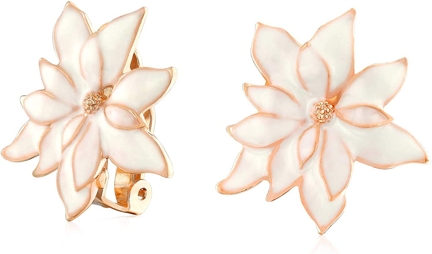 Cream Off White Water Lily Flower Poinsettia Clip On Earrings For Women Non Pierced Ears Rose Gold Plated Brass