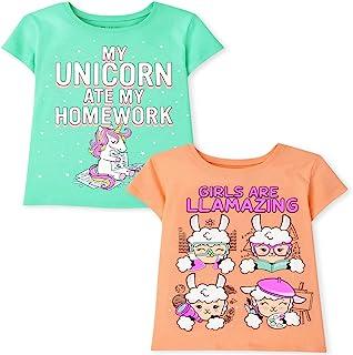 The Children's Place Short Sleeve 'My Unicorn Ate My Homework' and 'Girls are Llamazing' Graphic T-Shirt 2-Pack