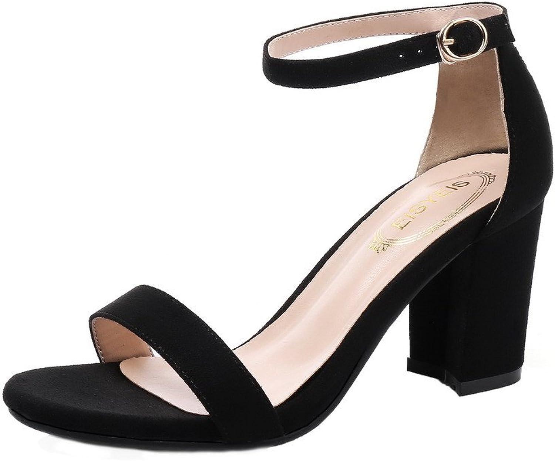 WeenFashion Women's Buckle Xi Shi Velvet Open-Toe High-Heels Solid Sandals