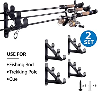 Horizontal Rod Rack for Fishing Rod Wall Rack Storage-Ultra Sturdy Strong Weatherproof Holds 3 Rods- Space Saving for Fishing Rods,Hiking Poles, Ski Poles, Hockey Sticks and Cue
