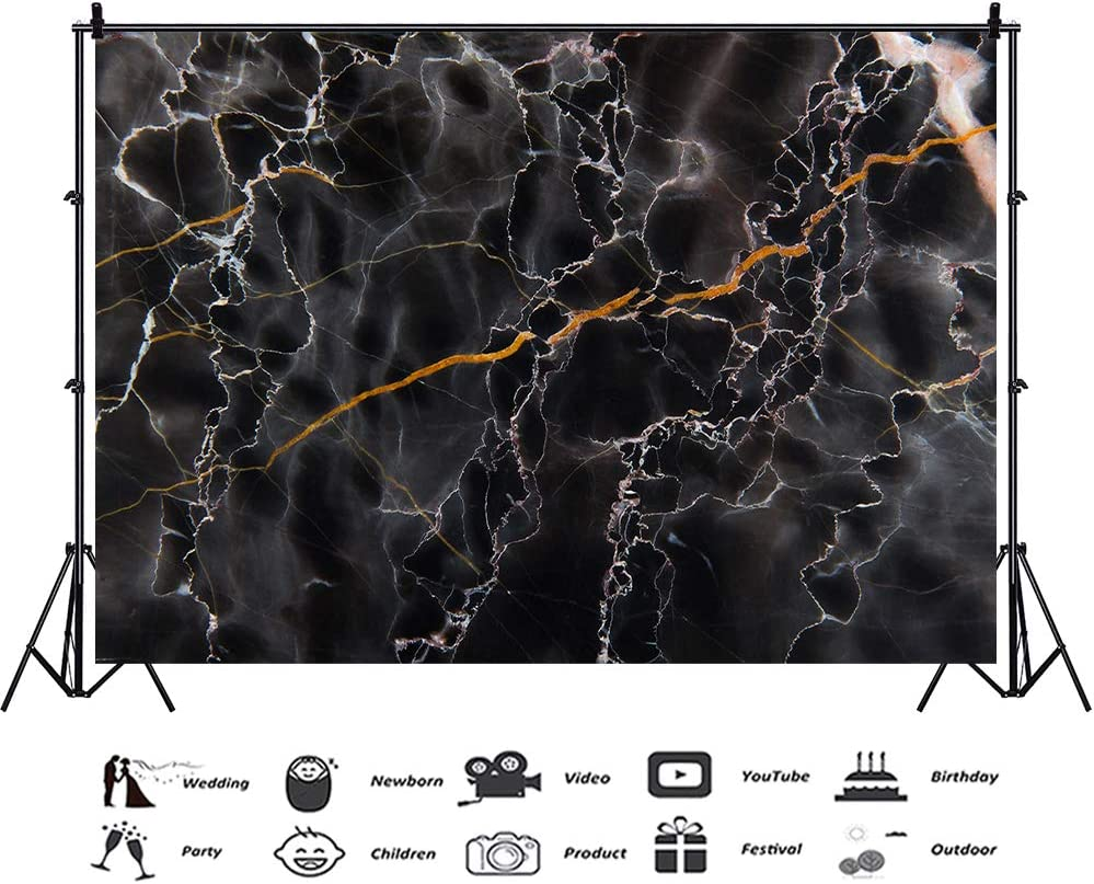 RBQOKJ 10x10ft Black Marble Backdrop Natural Stones Texture Pattern Background Abstract Marble Photography Backdrops for Photo Shoot Studio Prop