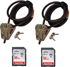 Master Lock Cable Lock, Python Adjustable Keyed Cable Locks (2X), 6 ft, Camo, 8418DCAMO & 2 16GB SD Cards