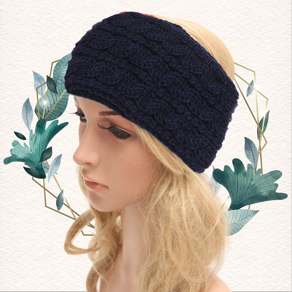 YJ-2 pieces of autumn and winter hair accessories woven wide wool webbing women's winter ear protection warm headband headband (1)