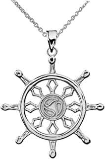 Religious Jewelry by FDJ Fine Sterling Silver Wheel of The Buddhist Dharma Pendant Necklace