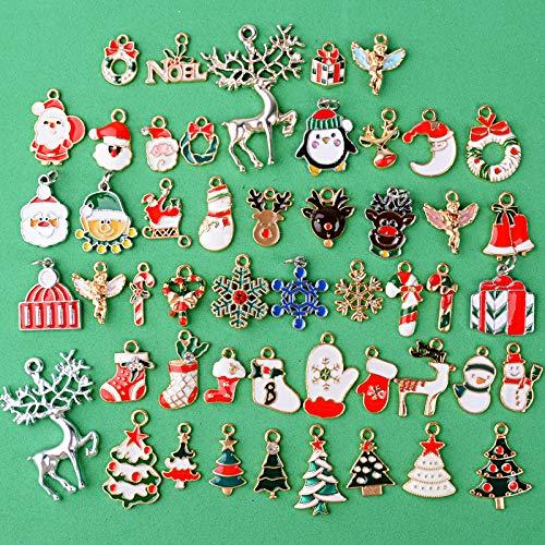 BHGT 50 Colgantes Navidad Encantos Navideños Dijes Mixtos Decoración Manualidades Bisutería Pulsera Collar Pendiente Adorno Navideño