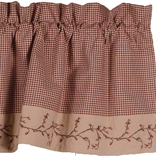 """Primitive Home Decors Berry Vine Gingham Check Barn Red and Nutmeg 72"""" x 15.5"""" Lined Cotton Valance"""