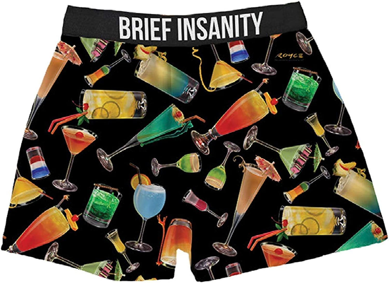 BRIEF INSANITY Men's Boxer Shorts Underwear Cocktails & Martini's Print