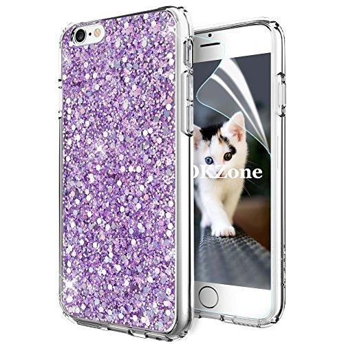 Coque iPhone 6S Plus,Coque iPhone 6 Plus,OKZone Mince Étui en silicone souple Paillette Strass Brillante Glitter de Luxe,TPU Housse Etui de Protection pour Apple iPhone 6 Plus/iPhone 6S Plus (Violet)