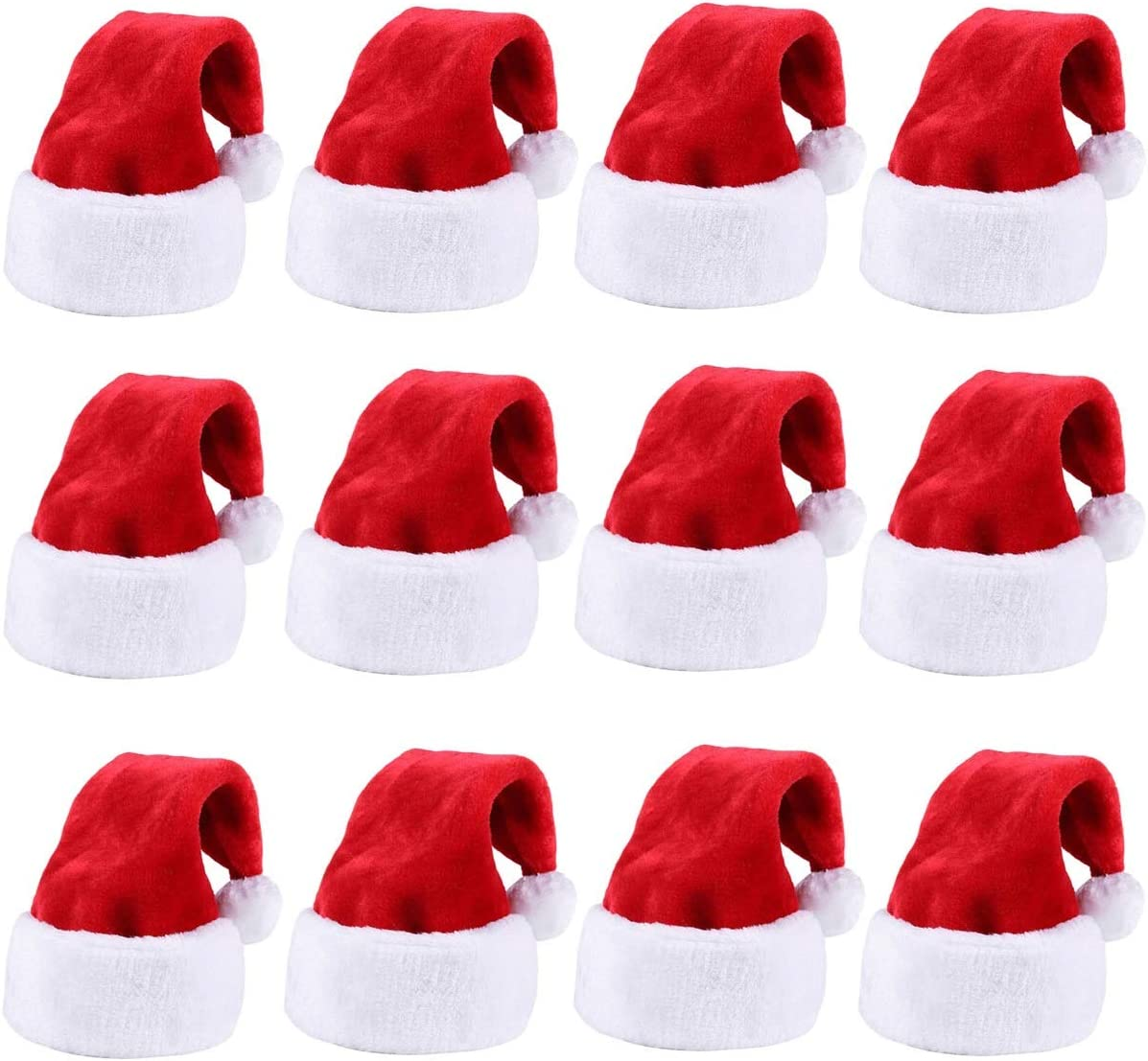 Amazon Com Christmas Santa Hat Thickened Luxury Short Plush Christmas Hat Thickened Lengthened Santa Claus Cap Xmas Hat For Adults Red 12pcs Health Personal Care
