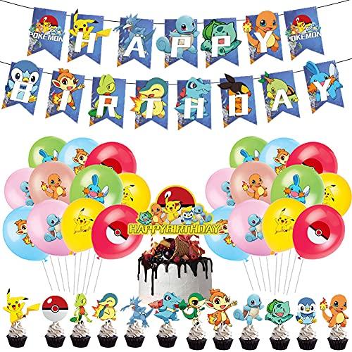 LKNBIF Globo Pikachu, 44 Piezas Suministros Fiesta Cumpleaños Pikachu, Pikachu Globos de Fiesta Látex Balloons, Pikachu Happy Birthday Banner Cake Topper Suministros de Fiesta Cumpleaños De Pikachu