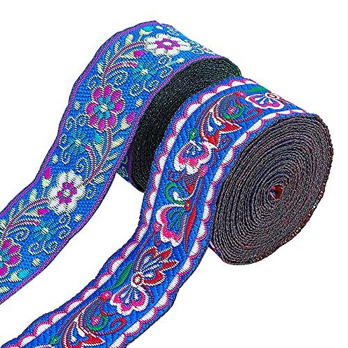 AHANDMAKER 2 piezas de cinta jacquard de 7 yardas de borde tejido vintage, 3.5 cm de tela bordada floral tejida cinta de tela DIY para adornos, suministros de manualidades