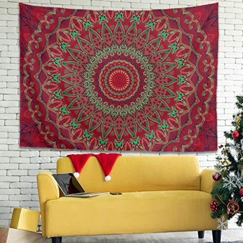 Buweirezhi Tapiz de pared con flores indias, para esterilla de yoga, color blanco, 100 x 150 cm