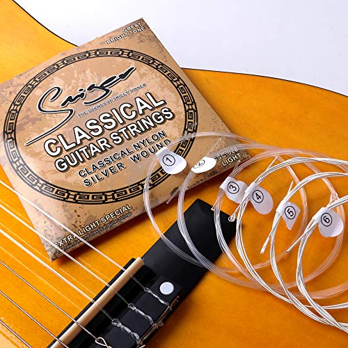 Smiger Classical Guitar Strings Nylon Full Size Silver Wound Light Rust Prevention for 3/4 4/4 all Sizes of Guitars Medium Tension.028-.043 (1 Pack)