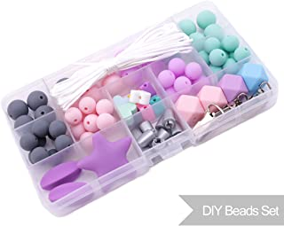 Promise Babe Silicone Abacus Beads Set Food Grade Baby Teether DIY Teething Jewelry Accessories Kit Nursing Necklace Beads for Kid