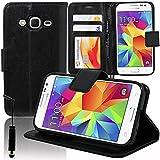 VCOMP Housse Coque Etui portefeuille Support Video Livre rabat cuir PU pour Samsung Galaxy Core Prime SM-G360F/ 4G SM-G361F + mini stylet - NOIR