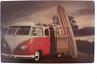12x8 Inches Pub,bar,home Wall Decor Souvenir Hanging Metal Tin Sign Plate Plaque (Red Bus and Surf Board)
