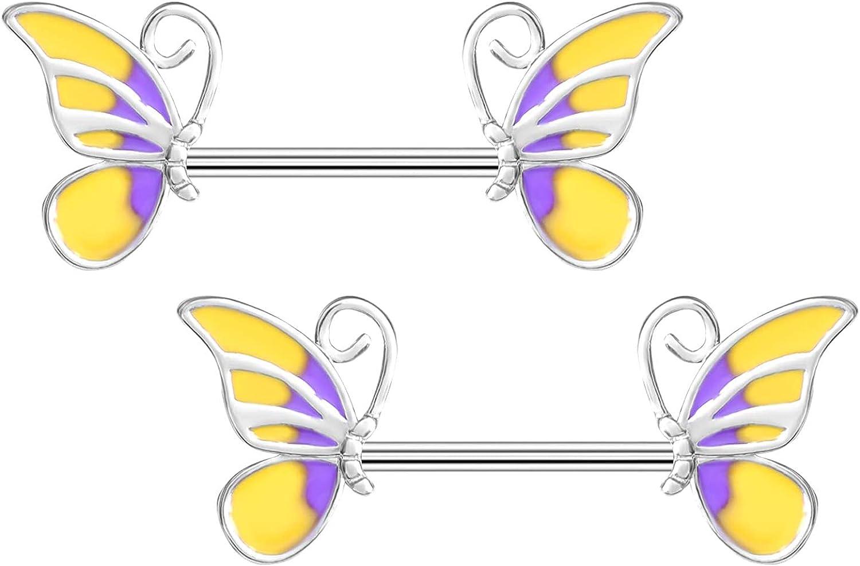 Butterfly Nipple Rings 316L Surgical Steel Barbell Nipple Ring Body Piercing Jewelry Nipple Piercing Retainer for Women Men Nipple shield Body Piercing