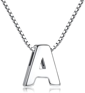 Candyfancy Initial Necklace 925 Sterling Silver Letter Pendant Personalized 26 Alphabet Necklace for Women Men
