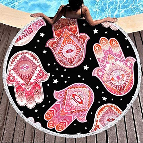 Wecrayon Hamsa Toalla de playa grande, redonda, microfibra, toalla de playa, toalla de playa, toalla de picnic, manta de playa, esterilla de yoga, toalla de mano para dos personas, blanco, talla única