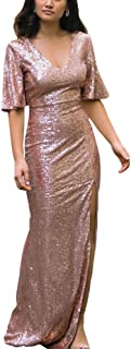 Women Sparkly Rose Gold Bridesmaid Dress V Neck Side Split Long Sequins Prom/Evening Gowns