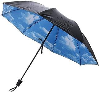 1PC Portable Anti-UV Sun Umbrella Printed Windproof Rainproof and Sun Protection Mini Folding Umbrella,Blue