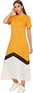 SheIn Women's Pleated Colorblock Short Sleeve Crew Neck Casual Long Tee Dress