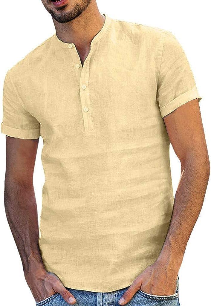 Aayomet Men's Cotton Linen Shirts Casual Short Sleeve Button V Neck T-Shirt Loose Daily Yoga Sport Beach Tee Shirts Tops