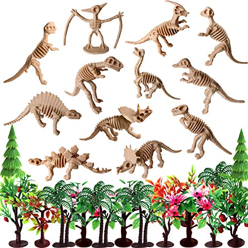 Trees Cake Decorations, OrgMemory Dinosaurs Trees with Bases, Mini Dinosaur Fossil, Diorama Supplies for Projects or Cake Topper (12pcs Dossil and Trees)