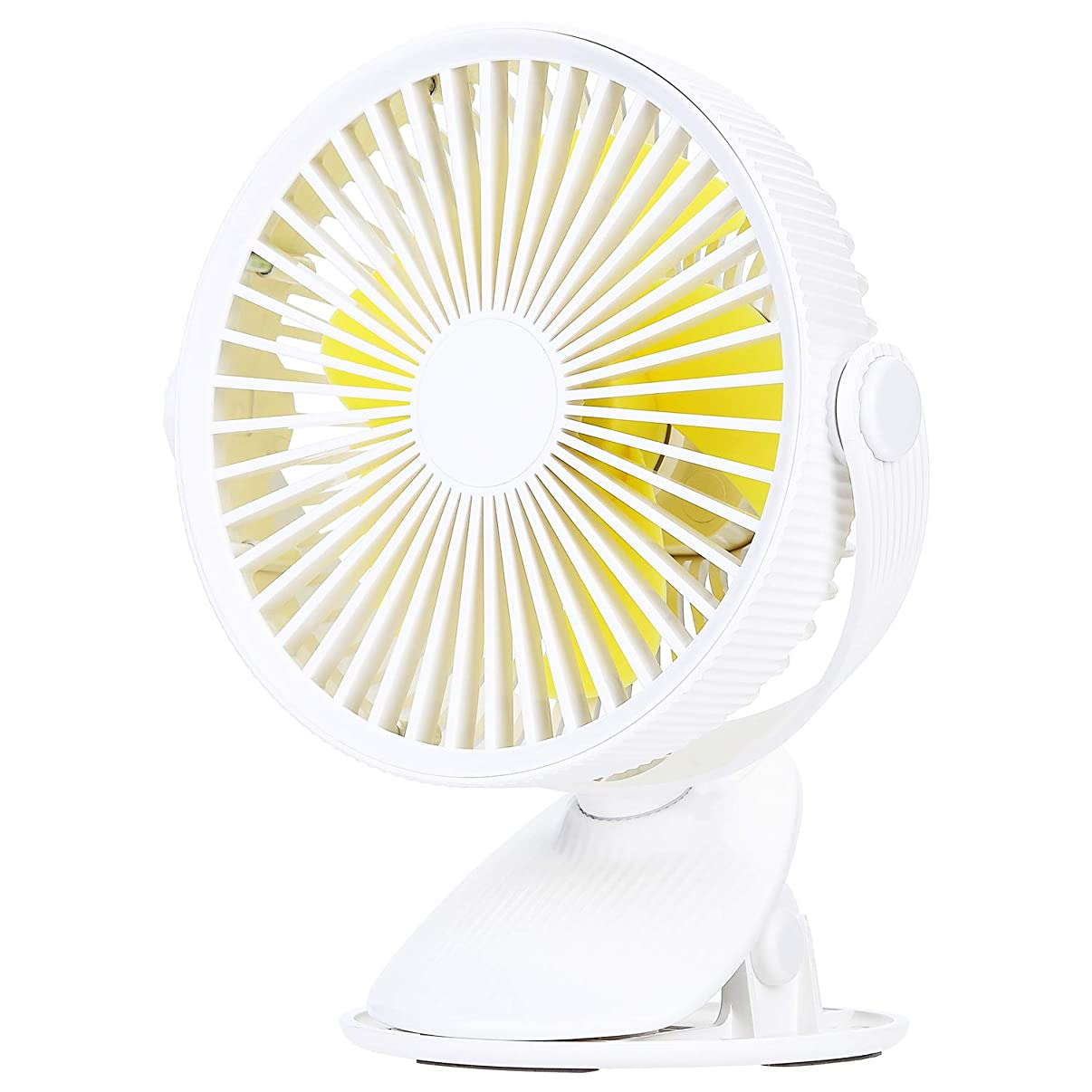 COSSCCI Small Desk Fan with Clip, Mini USB Personal Fan Portable Electronic Battery Operated Cooling Fan for Stroller Outdoor Home Office Bedroom (White)