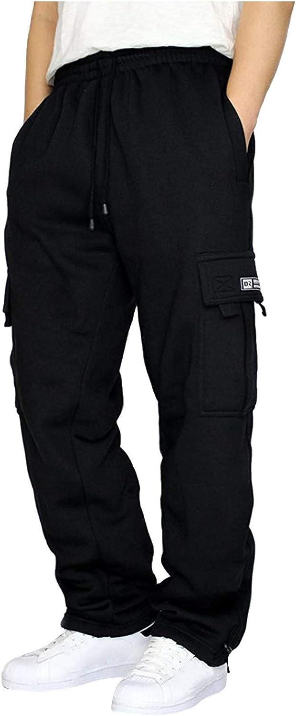 WUAI-Men Cargo Pants Casual Elastic Waist Drawstring Loose Workout Chino Joggers Comfy Lounge Outdoors Cargo Pants