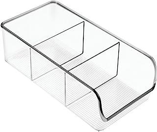 iDesign boîte de rangement à 3 compartiments, bac plastique moyen pour le placard ou le tiroir, bac alimentaire empilable ...