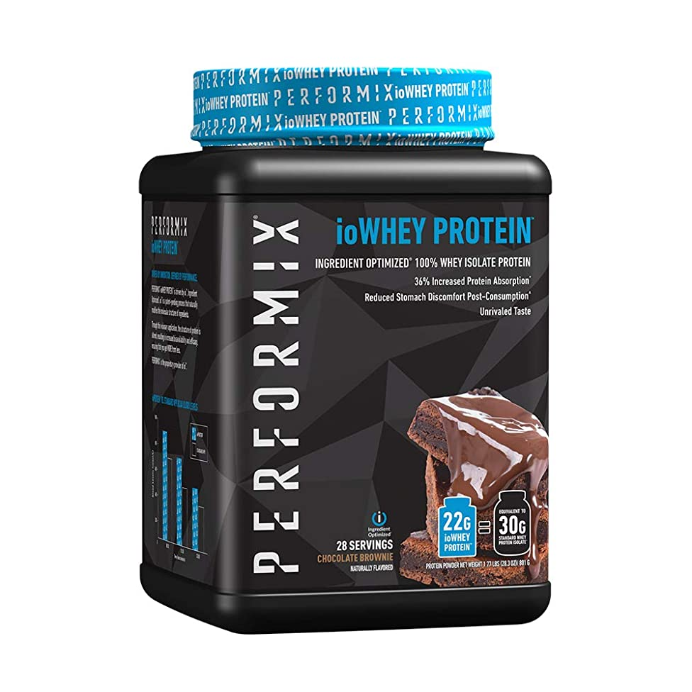 ioWHEY 100% Whey Isolate Protein Powder by PERFORMIX | 36% Increased Absorption, 46% Improved Stomach Discomfort | 30g Protein, 1.65lb, 28 Serving, Chocolate Brownie
