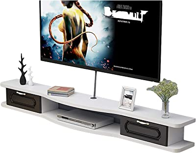 TV Cabinet, TV Lowboard, Floating Shelves, Asymmetrical Wall Mounted TV Console, with 2 Drawers, 100/120/140/160CM Four Color Panel, Wall Mounted Media Console. (Color : C, Size : 100CM)