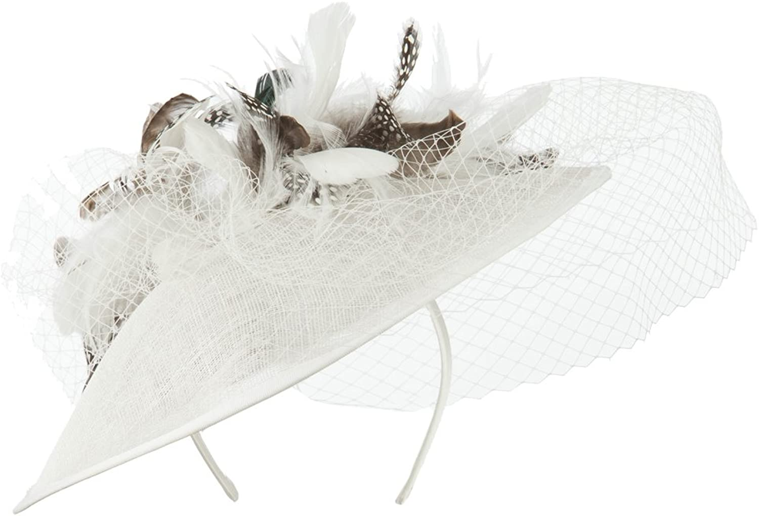 Animal Print Fascinator With Netting  White