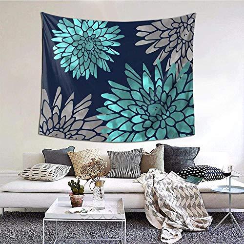N-X Floral Chrysanthemum Modern Navy Aqua TapisserieWandbehang Wanddekoration Wohnkultur StranddeckeIndianerfür Schlafzimmer Wohnheim Home 150x102cm