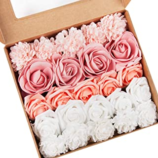 24pcs Artificial Roses Flowers Real Touch Foam Fake Roses Bulk with Stem for DIY Wedding Bouquets Bridal Shower Party Home Decorations
