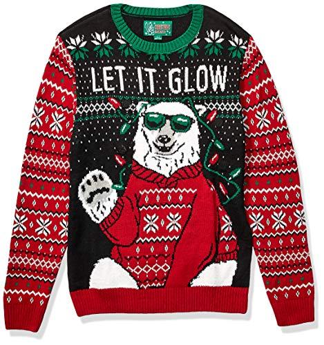Ugly Christmas Sweater Company - Maglioni Natalizie assortite con luci LED Multicolore Lampeggianti - Nero - L